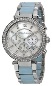 Michael Kors Crystal Pave Silver tone Blue Chambray Stainless Steel Designer Watch