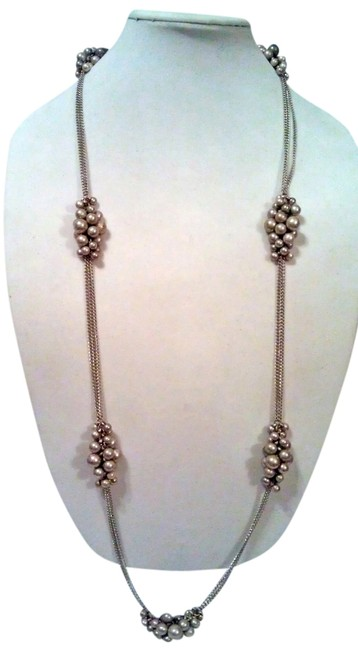 "Item - Two-tone Pewter & Antique Silver Grape Vine 42"" Necklace"