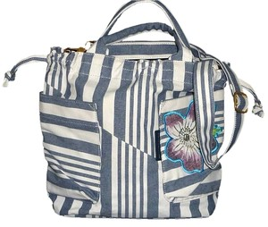 9c4b789b96 Marc by Marc Jacobs Brass Hardware White Gray Stripes Embroidered Flower  Logo Coach Shoulder Bag