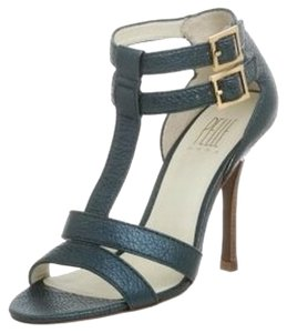 Pelle Moda Stiletto Strappy Strap Stiletto Blue Metallic Leather Formal