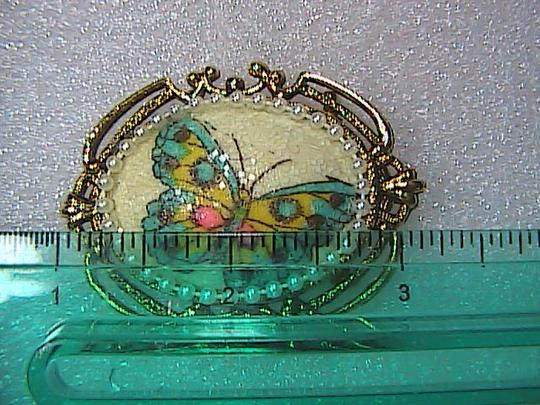 Vintage Vintage Gold Tone Faux Pearl Butterfly Brooch Pendant