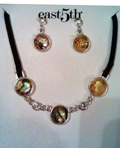 East 5th Essentials East 5th Essentials Silver, Leather, Abalone, Imitation Diamond Necklace & Earring Gift Back Set
