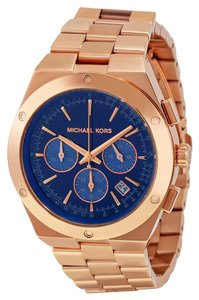 Michael Kors Blue Dial Rose Gold Stainless Steel Sport Style Designer Watch
