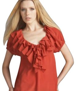 Joie Silk Boho Peasant Top Brick