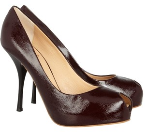 Giuseppe Zanotti Peep Toe Hidden Platform Retro Oxblood Pumps