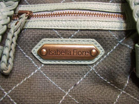 Isabella Fiore Brass Hardware Leather Woven Fabric Hobo Bag