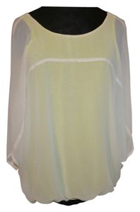 Express Summer Top Lime green white