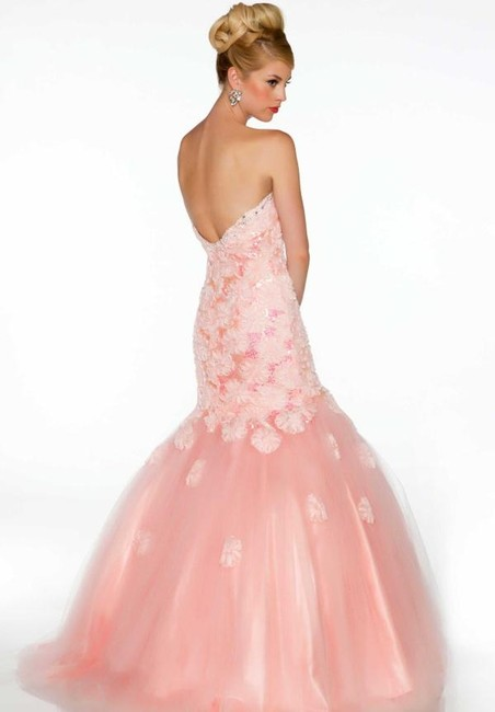 Mac Duggal Couture Strapless Sweetheart Mermaid Prom Pageant Floral Dress