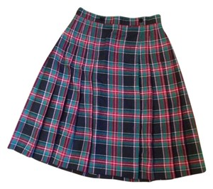 Karen Scott Kilt Skirt black and green plaid