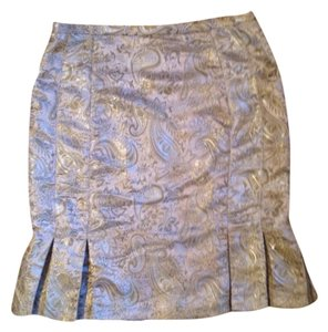 Ice Metalic Pleated Skirt Gold