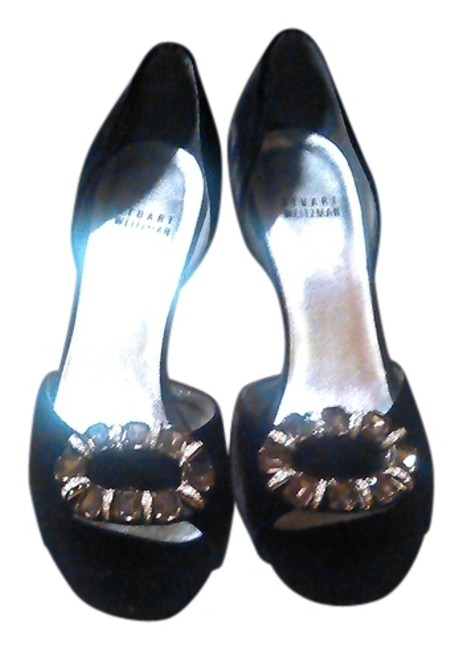 Stuart Weitzman Black Velvet Open Toe Stilletos Pumps Size US 8 Regular (M, B) Image 1