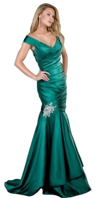 Jovani Long Evening V-neck Trumpet Dress
