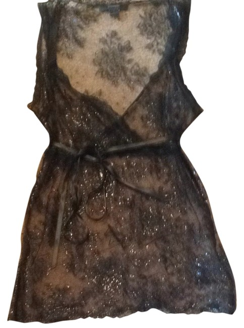 Express Tank Shimmer Lace Party Top Black