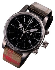 Burberry 100% New Swiss Made Authentic Burberry Watch, Swiss Chronograph House Check Leather Strap 42mm BU7815