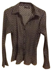 Apt. 9 Crinkle Collar Button Up Geometric Stretchy Button Down Shirt Black