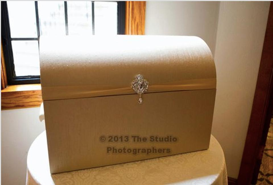 Wedding Gift Card Box Gold : Xl Gold Wedding Card Box Trunk Chest Gift Card Holder With Crystal ...