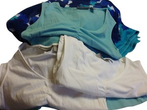 Croft & Barrow Set Of 3 Set Of Three Tank Comfortable Sleeveless White Casual Light turquoise/white Halter Top