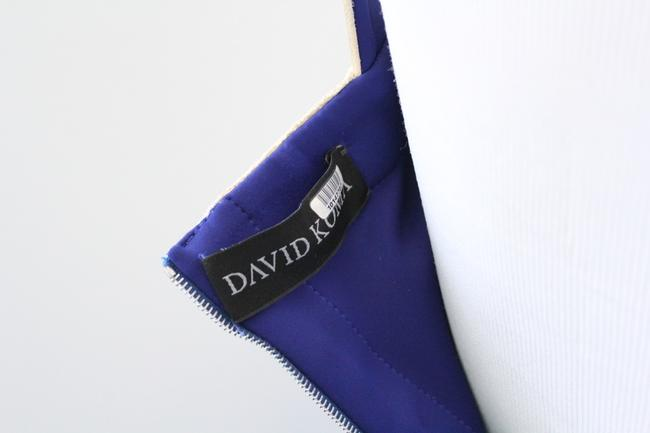 David Koma Structure 2014 Blue Neoprene White Leather Criss Cross Zip Up Finale Dress