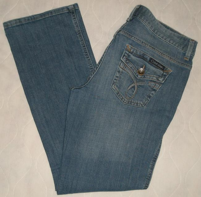 Calvin Klein Cotton/spandex *machine Washable *boot Leg Opening *back Flap Pockets *slight Distressing Detail *zip Fly Boot Cut Jeans-Medium Wash