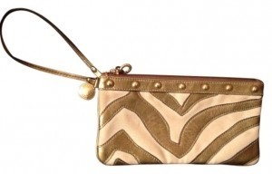 Coach Wristlet in Gold and White