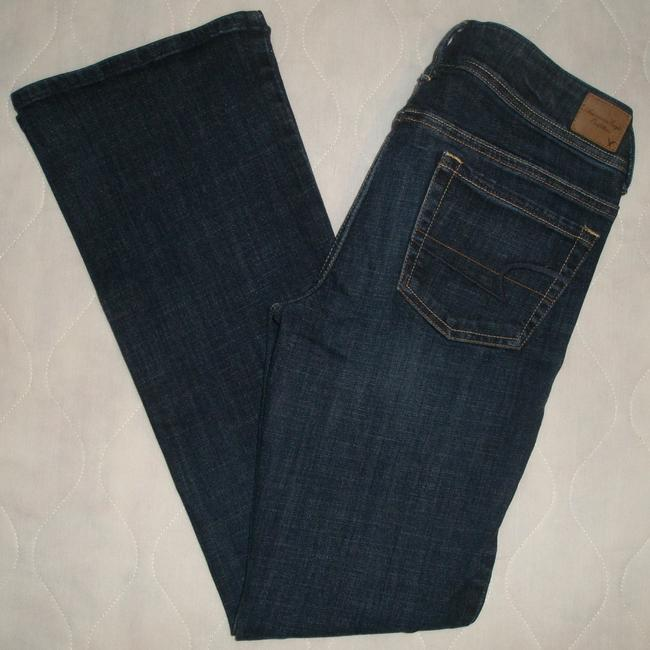 American Eagle Outfitters Classic 5 Pocket Style *zip Fly *low Rise Leg Opening *whiskering Detail *machine Washable *cotton/Spandex Boot Cut Jeans-Dark Rinse