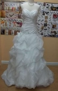 Alfred Angelo Diamond White Taffeta 2373 Formal Wedding Dress Size 8 (M)