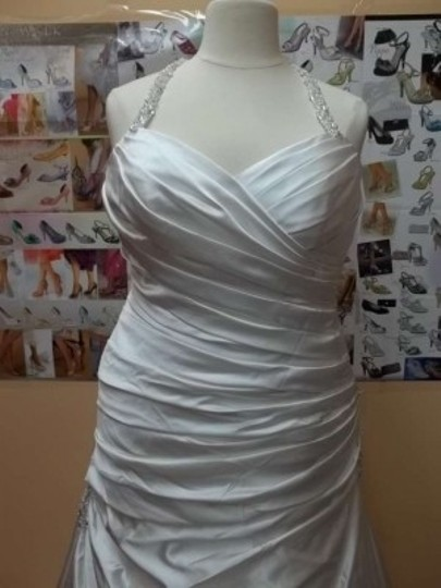 Alfred Angelo Ivory/Silver Satin 2336 Formal Wedding Dress Size 16 (XL, Plus 0x)