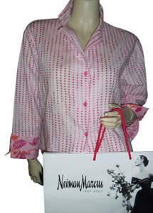 Natori Button Down Shirt pink fuschia
