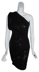 Eva Franco Glamorous Unique Retro Sequin Off One Stretch Sexy Unusual Black Evening Party Holiday Dress