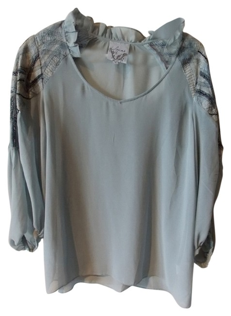 Anthropologie Sains Sheer Embroidery Cut Out Top blue gray