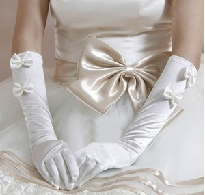 White Satin Bow Opra Wedding Long Gloves Free Shipping
