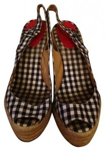 Christian Louboutin Blue and White gingham Wedges