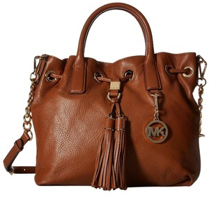 Michael Kors Medium Camden Leather Satchel in Luggage