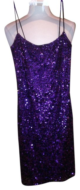 Item - Purple with Black Sequin Above Knee Cocktail Dress Size 0 (XS)