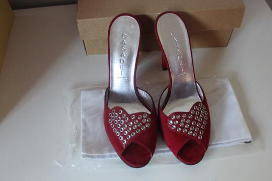 Casadei Suede Pumps Heels Chunky Wedding Special Ocassion Hearts Studded Party Star Red Sandals