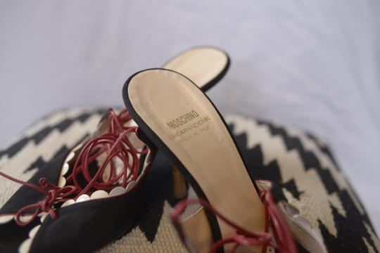 Moschino Lace Leather Black and Red Pumps