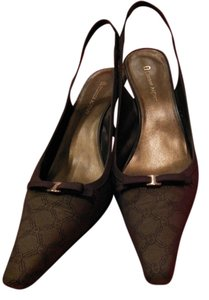 Etienne Aigner Slingback Heels Women 8m Size 8 Stylish Logo Brown Sandals