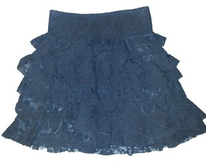 Express Tiered Skirt Black Lace