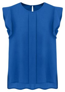 Sleeveless Chiffon Career Top Blue