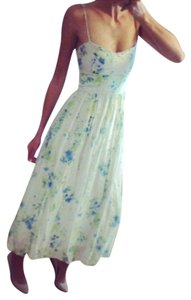 White, Blue, Green Maxi Dress by Zara Silk Floral Summer