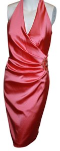 David Meister Glamorous Halter Jewel Pink Satin Ruching Embellished Evening Stylish Sexy Feminine Dress