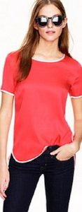 J.Crew Silk Tipped Tee Top Red