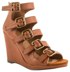 Michael Antonio Buckle Zipper Cognac Wedges