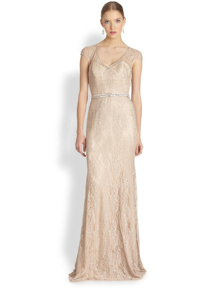 Theia Champagne Lace Fit And Flare Vintage Wedding Dress Size 10 M