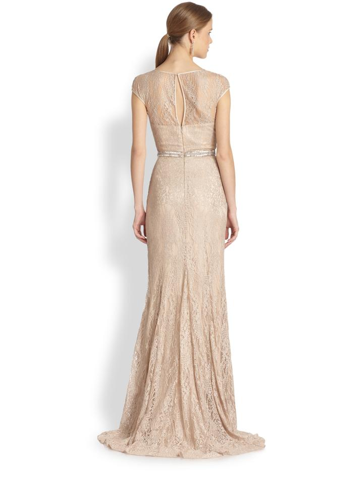 Theia Champagne Lace Fit-and-flare Vintage Wedding Dress Size 10 (M ...