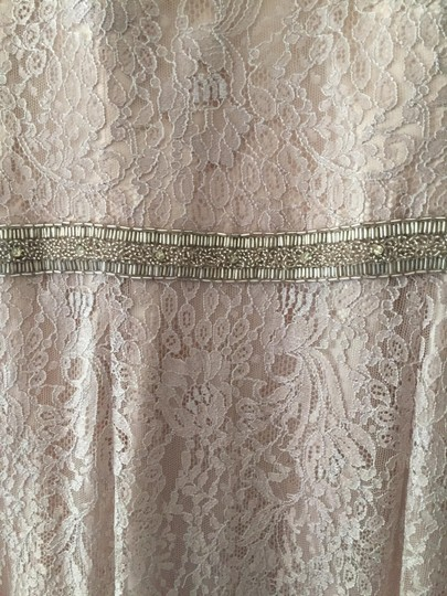 Theia Champagne Lace Fit-and-flare Vintage Wedding Dress Size 10 (M)