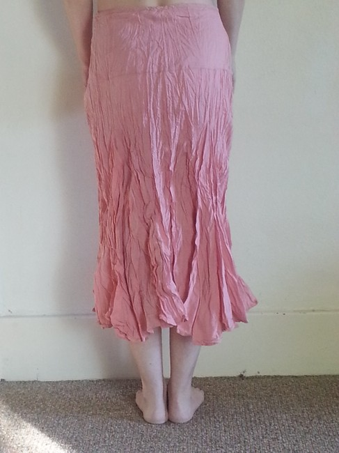 Eyeshadow Crinkled Maxi Broom Stick Comfortable Casual Skirt Light Pink Cream