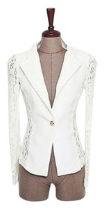 Lace Fitted Suit White Blazer