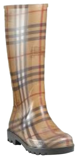 Item - Tan Multi Colored Checkered Rainboots Boots/Booties Size US 7 Regular (M, B)