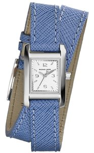 Michael Kors with BONUS-Mini Taylor Blue Leather Wrap Strap Watch